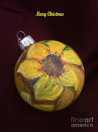 sunflower christmas tree ornament painting by mea fine art
