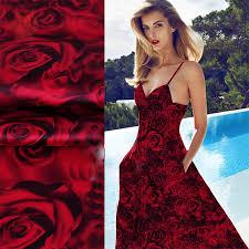 aliexpress com buy designer luxury red rose print spandex silk