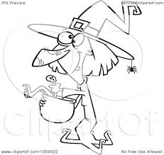 halloween black and white clipart clipart of a black and white cartoon halloween witch making soup