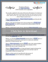Samples Of Memorial Programs Examples Of Funeral Resolutions