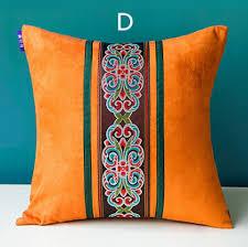 Orange Sofa Throw Orange Stitching Throw Pillows For Couch Retro Flower Sofa