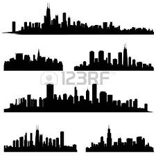 city silhouettes chicago illinois various skyline silhouette