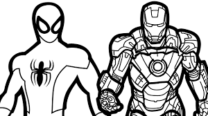 spiderman and ironman free coloring page u2022 adults iron man