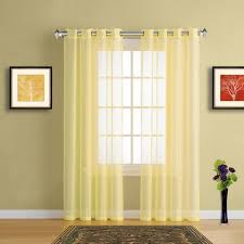 Yellow Sheer Curtains Sheer Window Curtains With Grommet Top In 19 Colors