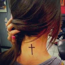 simple black cross for on back neck tattooshunt com