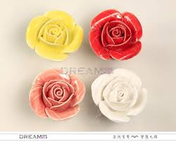 Red Kitchen Cabinet Knobs 10pcs Red Pink Yellow White Flower Cabinet Knob Ceramic Knob