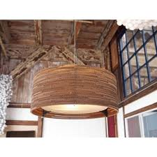 large diameter ceiling pendant light made from recycled cardboard