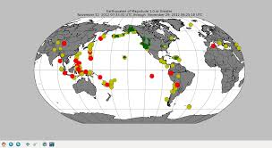Python Map Example Matplotlib Basemap Tutorial Plotting Global Earthquake Activity