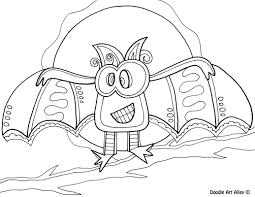 Halloween Bats To Color by Halloween Coloring Pages Doodle Art Alley