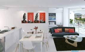 apartments stunning combination red white black decor with white