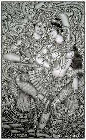 krishna mural pencil drawing drawing by shamil art