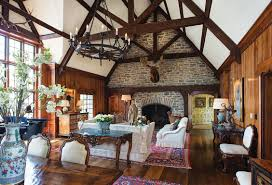 vaulted ceiling living room rustic lodge interior living room with large wrought iron