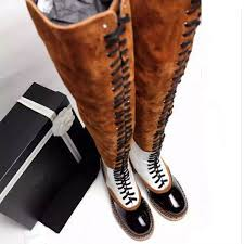 s boots knee high brown luxury brand fall s lace up thigh high boots brown black
