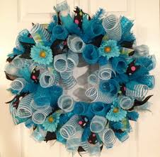 turquoise curly deco mesh wreath gina u0027s creations pinterest