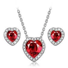 swarovski necklace red images Ladycolour true love ruby heart necklace and earrings jpg