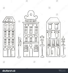 set three silhouette old european houses stock vector 419483005