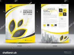 annual report brochure flyer template yellow stock vector