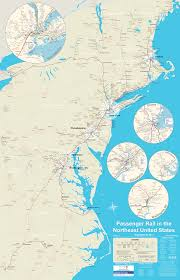 Map Of The East Coast Of Usa by Detailed Map Of Passenger Rail In Northeast Usa Includes Subways