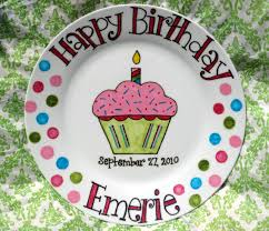 personalized birthday plate happy birthday plate painted personalized gifts cupcake