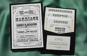 pocket wedding invitations black yellow green vintage poster style clutch pocket wedding