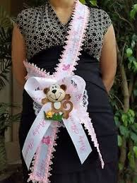 corsage de baby shower pink baby shower to be it s a girl sash monkey safari ribbon