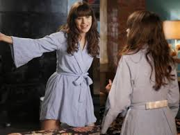zooey deschanel new girl fashion wwzdw what would zooey deschanel s blue bathrobe with bows on new girl wwzdw what
