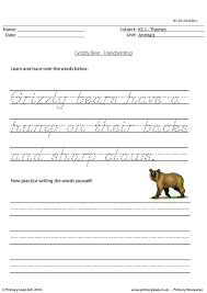 primaryleap co uk grizzly bear handwriting worksheet