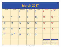march 2017 calendar with holidays 1 printable calendar 2017 2018