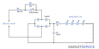 230v ac mains operated led light circuit diagram gadgetronicx