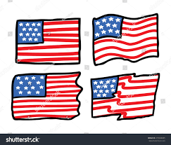 American Flag Doodle Drawn Flag Pencil And In Color Drawn Flag