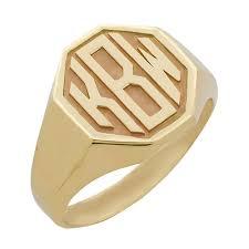 mens monogram ring men s octagon block monogram ring monogram jewelry