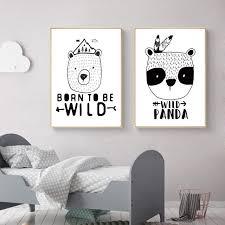 online shop black white animal panda bear nursery canvas art