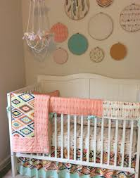 Boho Crib Bedding by Aztec And Arrows Baby Bedding In Peach Mint Cream And Gold