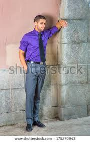 dressing purple shirt gray pants black stock photo 175270943