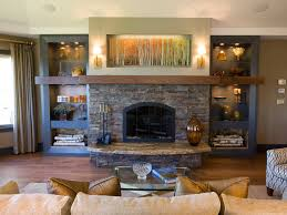Attractive Modern Living Room With Stone Fireplace Fancy In - Living room designs with fireplace