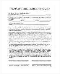 bill of sale vehicle form sample 8 free documents in pdf doc