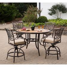 Patio High Top Table by Monaco 5 Piece High Dining Bar Set In Tan With 56 In Tile Top