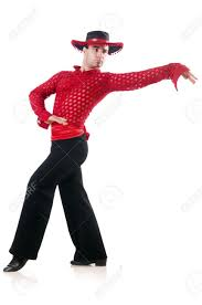 man dancing spanish dances on white stock photo picture and