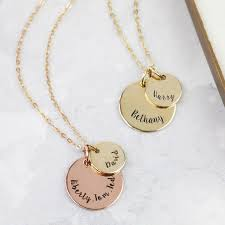 personalised necklaces personalised solid 9ct gold disc necklace angel