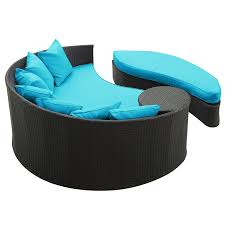 amazon com modway taiji outdoor wicker patio daybed with ottoman