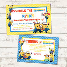 minions birthday party invitation and thank you card stuart bob
