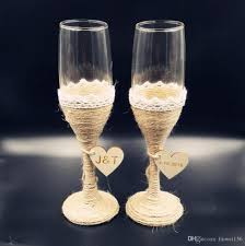 custom rustic wedding glasses flutes wedding champagne toasting