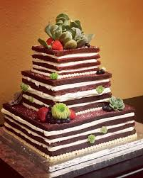 red velvet wedding cake with succulents and fresh berries cj u0026y