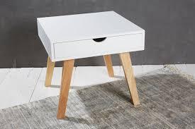 Touch Le Nachttisch Couchtisch Beistelltisch Weiß Holzbeine Natur Retro Tisch Modern