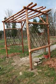 beginnings of a farm garden trellis from downed trees