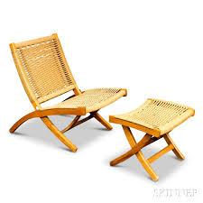 Beech Ottoman Wegner Style Beech Folding Rope Chair And Ottoman Sale Number