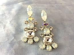 Chandelier Earrings Bridal Vintage Style White Opal Swarovski Crystal Chandelier Earrings