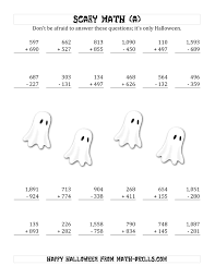 halloween numbers printable scary addition and subtraction with triple digit numbers a