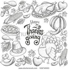 frame thanksgiving icons sketch style stock vector 516716503