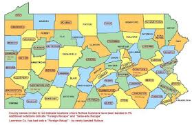 Pennsylvania Counties Map by Pa Winter Western Hummers In Frames